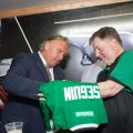 Seguin of the Dallas Stars signs a jersey and poses for photography