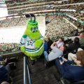 Mascot walking up stairs at a Dallas Stars game.