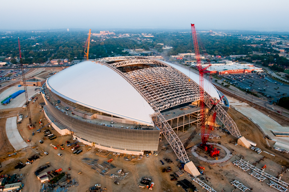 Aerial photograph of Dallas Cowboys stadium under construction