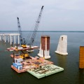 Bridge construction over Lewisville Lake