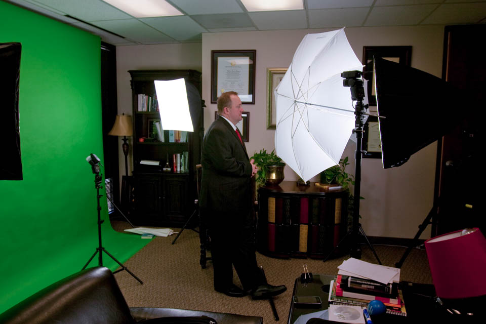 behind the scenes look at an interview on a green screen in Dallas DFW